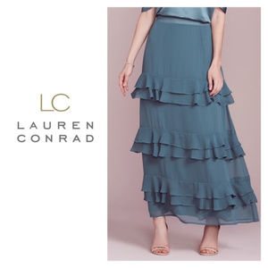NWT Lauren Conrad XS S Skirt Maxi Blue Tiered